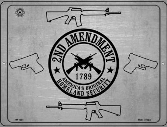 2nd Amendment Shield With Guns Novelty Mini Metal Parking Sign PM-1504