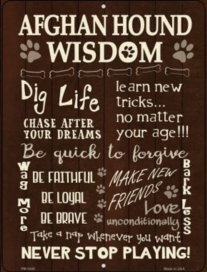 Afghan Hound Wisdom Novelty Mini Metal Parking Sign PM-1645