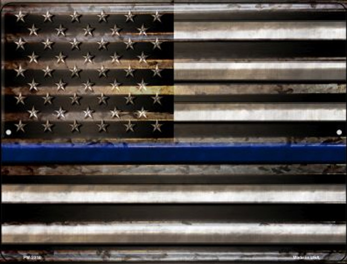 American Flag Thin Blue Line Novelty Mini Metal Parking Sign PM-2310
