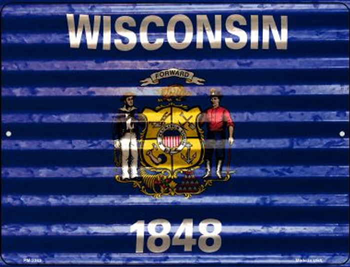 Wisconsin Flag Novelty Mini Metal Parking Sign PM-2363