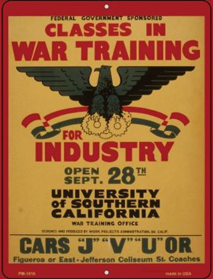 Classes in War Training Novelty Mini Metal Parking Sign PM-1816