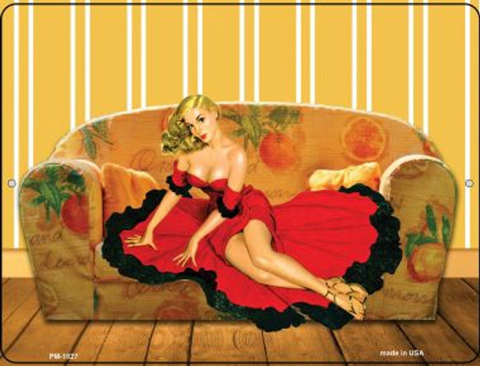 Girl On Couch Novelty Mini Metal Parking Sign PM-1827