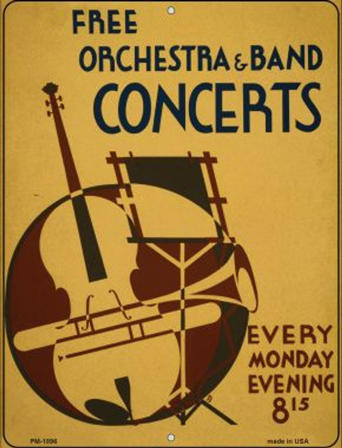 Free Concerts Novelty Mini Metal Parking Sign PM-1896