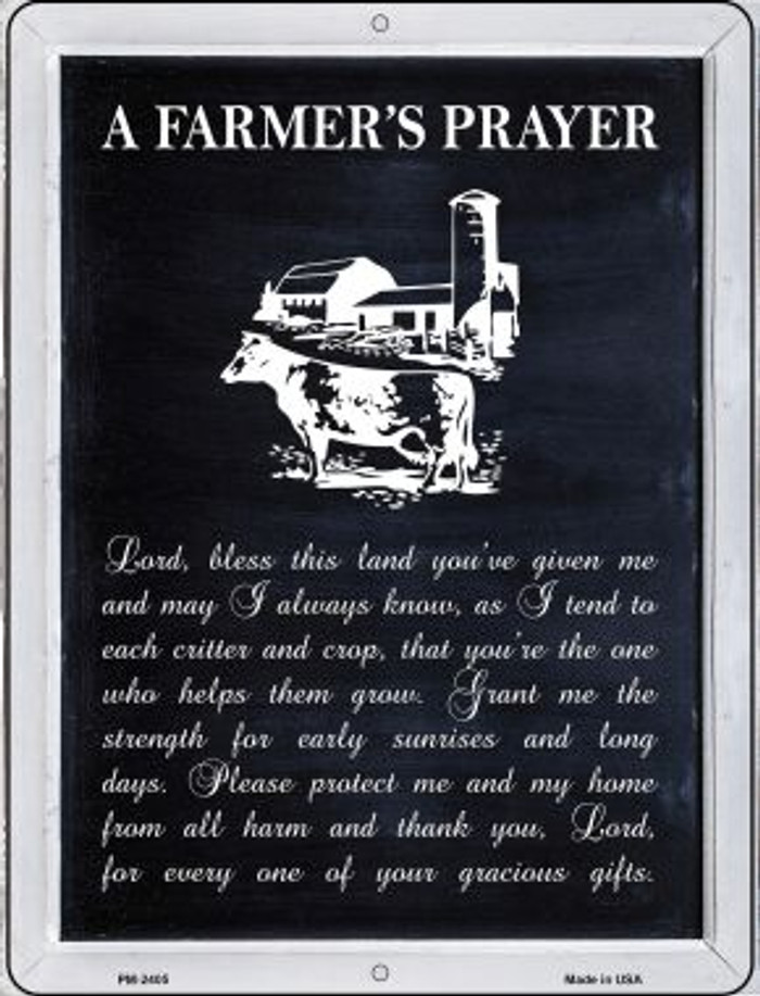 A Farmers Prayer Novelty Mini Metal Parking Sign PM-2405