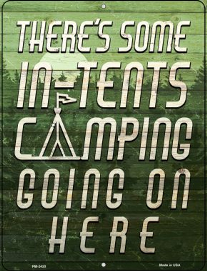 In Tents Camping Novelty Mini Metal Parking Sign PM-2420