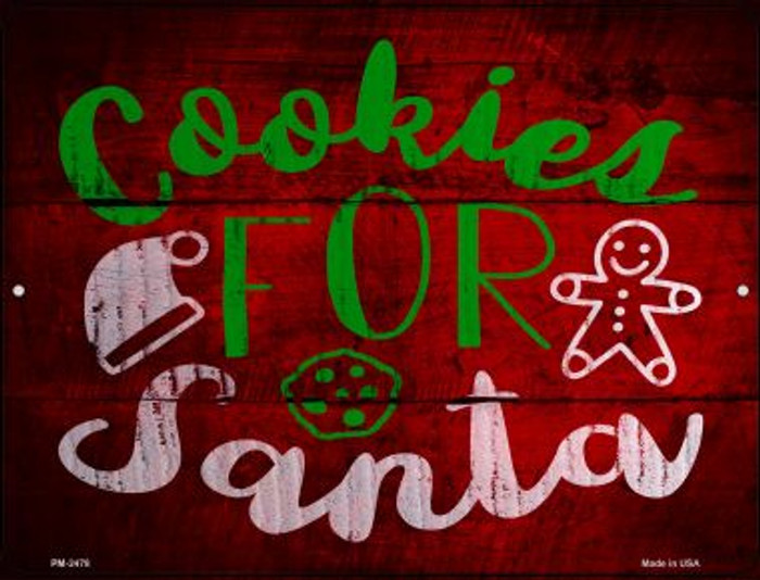 Cookies For Santa Novelty Mini Metal Parking Sign PM-2478