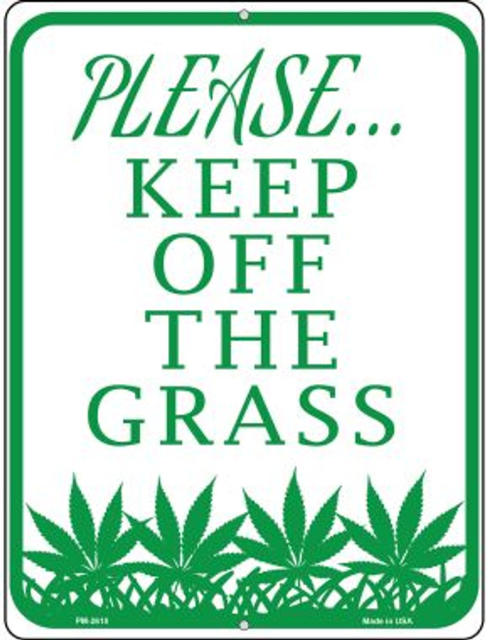 Please Keep Off Grass Novelty Mini Metal Parking Sign PM-2610