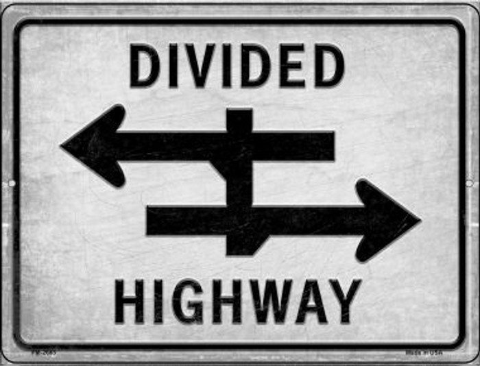 Divided Highway Novelty Mini Metal Parking Sign PM-2683