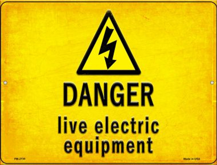 Danger Live Electric Equipment Novelty Mini Metal Parking Sign PM-2735