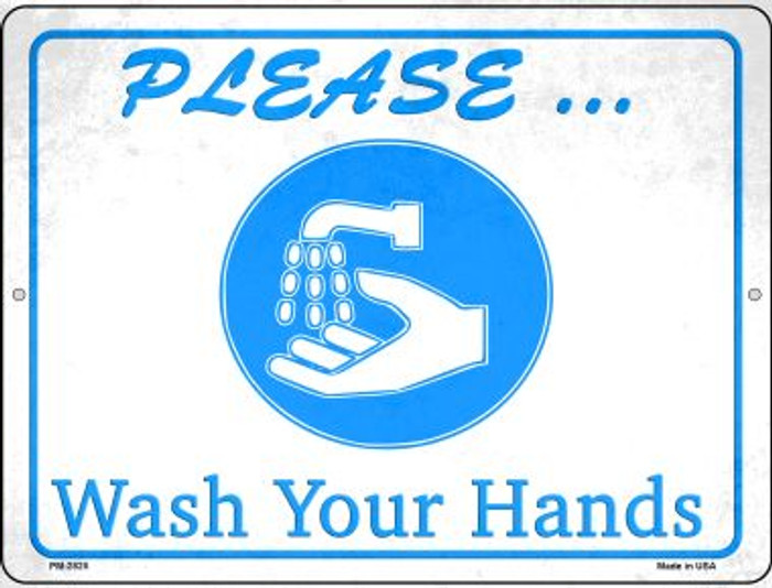 Please Wash Your Hands Novelty Mini Metal Parking Sign PM-2825