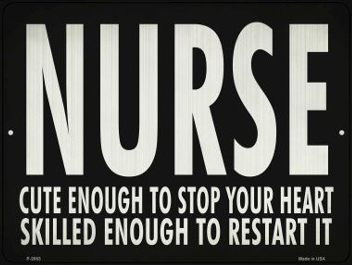 Cute Nurse, Restart Heart Novelty Metal Parking Sign P-2853