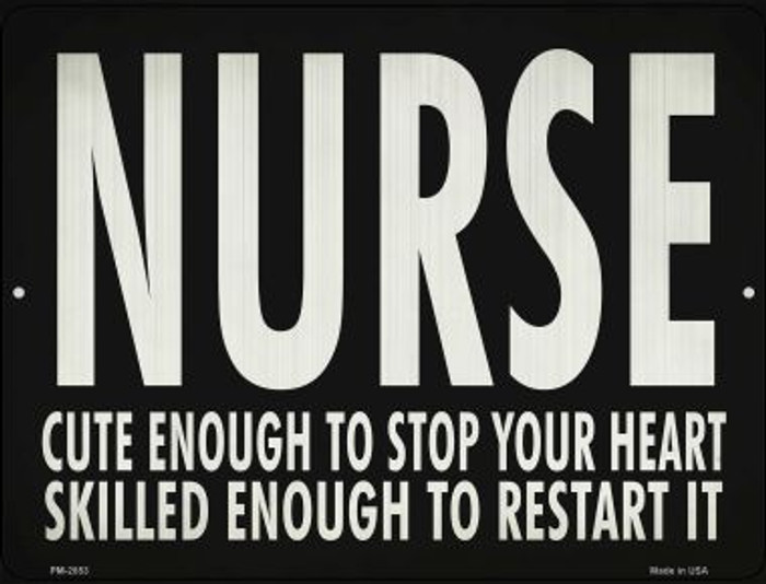 Cute Nurse, Restart Heart Novelty Metal Mini Parking Sign PM-2853