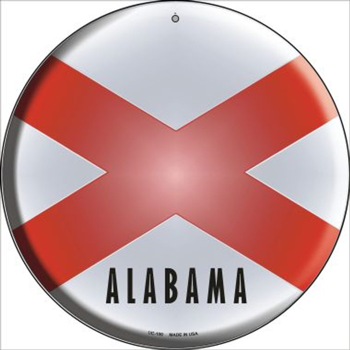 Alabama State Flag Novelty Small Metal Circular Sign UC-100