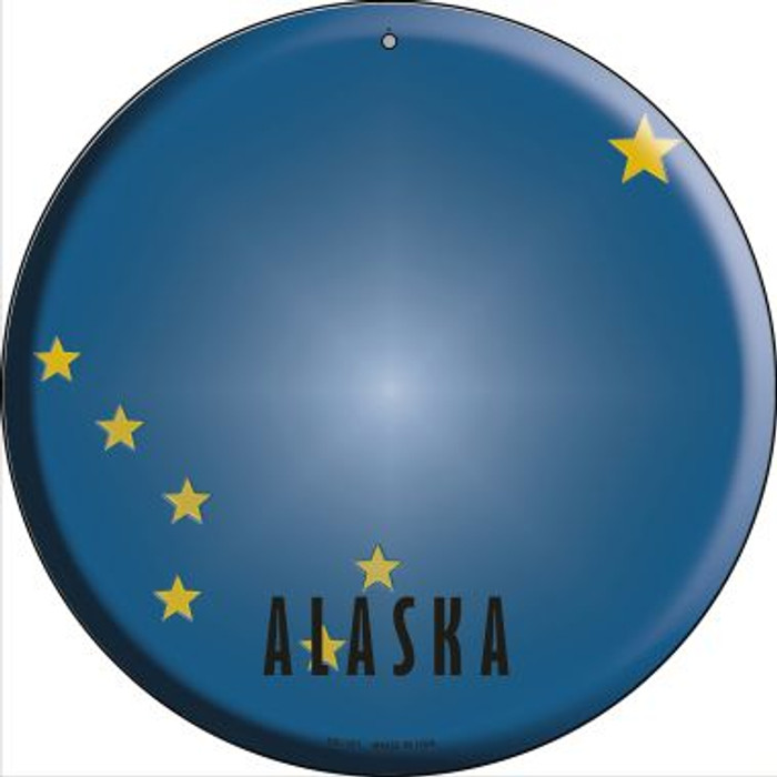 Alaska State Flag Novelty Small Metal Circular Sign UC-101