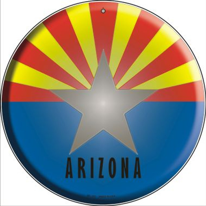 Arizona State Flag Novelty Small Metal Circular Sign UC-102