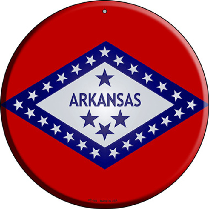 Arkansas State Flag Novelty Small Metal Circular Sign UC-103