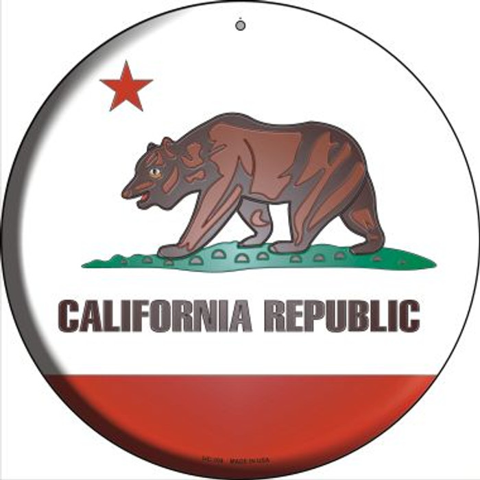 California State Flag Novelty Small Metal Circular Sign UC-104