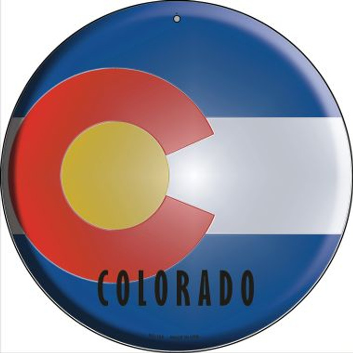 Colorado State Flag Novelty Small Metal Circular Sign UC-105