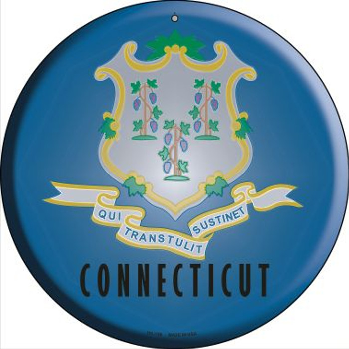Connecticut State Flag Novelty Small Metal Circular Sign UC-106