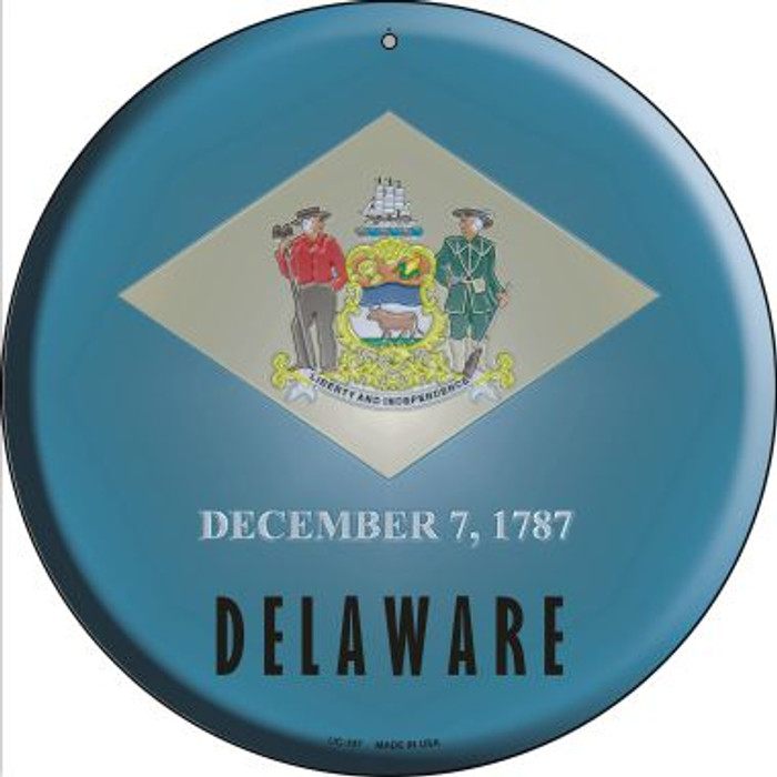 Delaware State Flag Novelty Small Metal Circular Sign UC-107