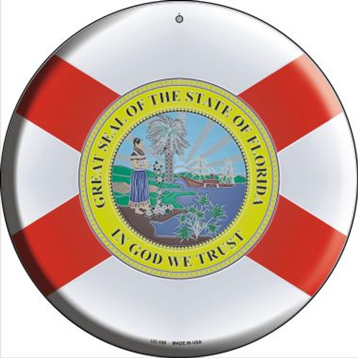 Florida State Flag Novelty Small Metal Circular Sign UC-108