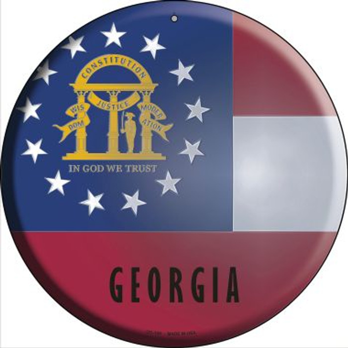 Georgia State Flag Novelty Small Metal Circular Sign UC-109