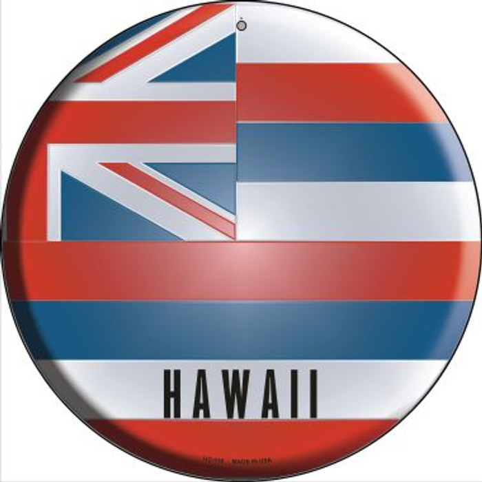 Hawaii State Flag Novelty Small Metal Circular Sign UC-110