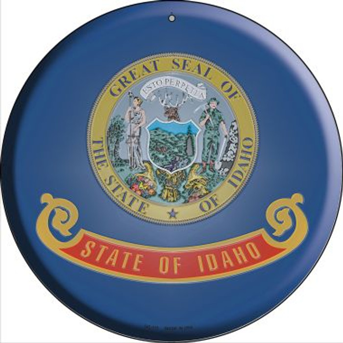 Idaho State Flag Novelty Small Metal Circular Sign UC-111