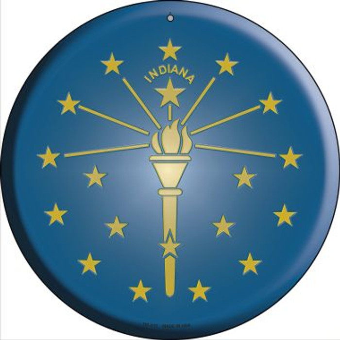 Indiana State Flag Novelty Small Metal Circular Sign UC-113