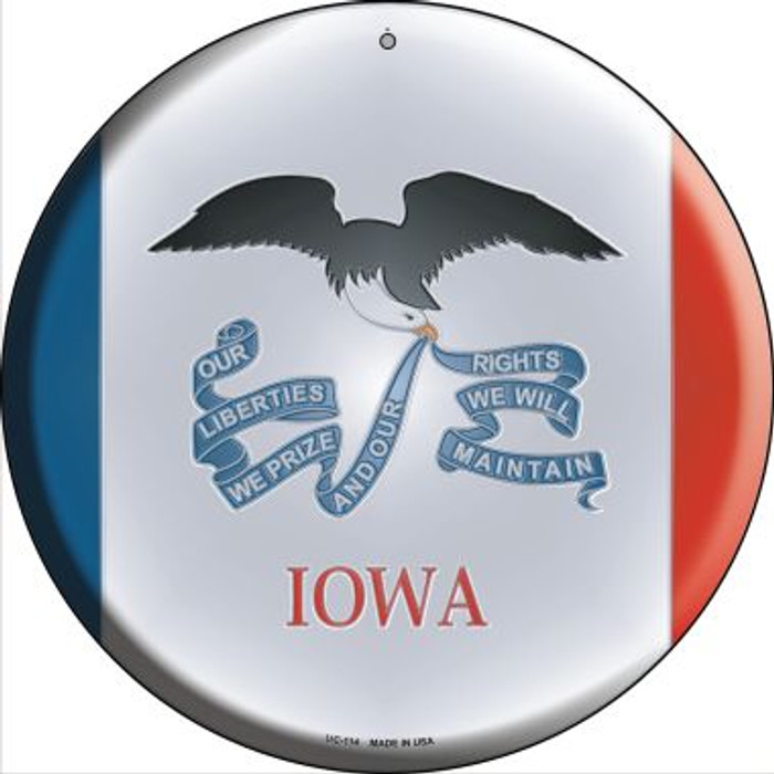 Iowa State Flag Novelty Small Metal Circular Sign UC-114