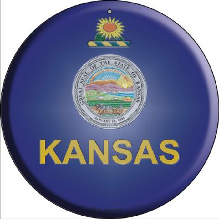 Kansas State Flag Novelty Small Metal Circular Sign UC-115