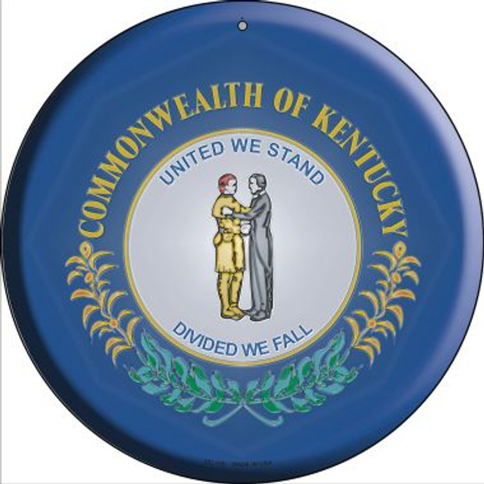 Kentucky State Flag Novelty Small Metal Circular Sign UC-116