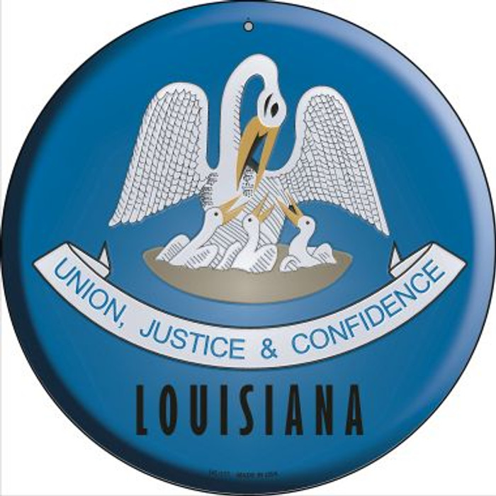 Louisiana State Flag Novelty Small Metal Circular Sign UC-117