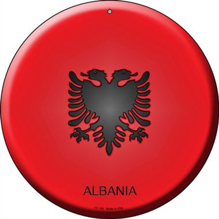 Albania Country Novelty Small Metal Circular Sign UC-183