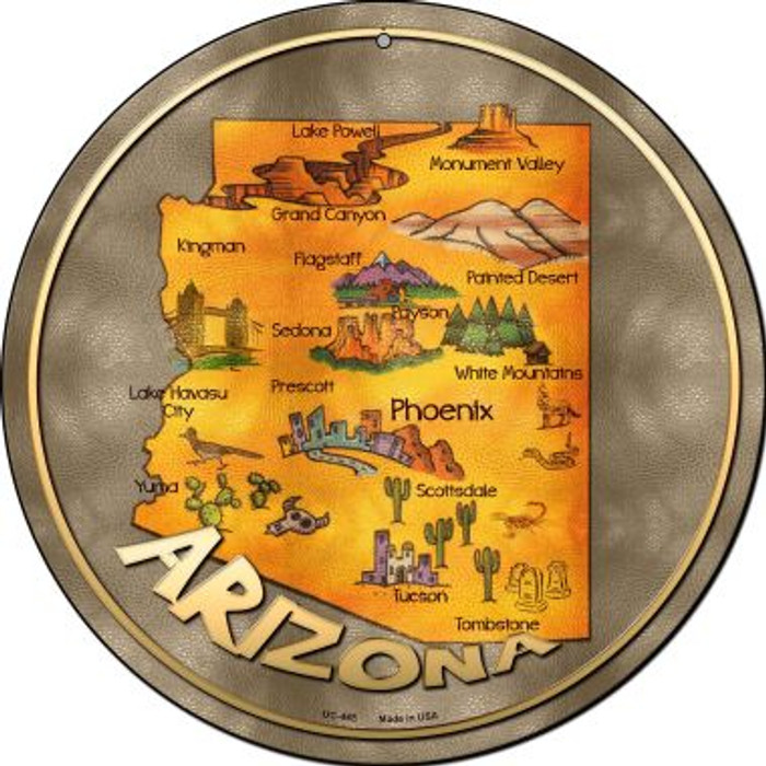 Arizona State Novelty Small Metal Circular Sign UC-485