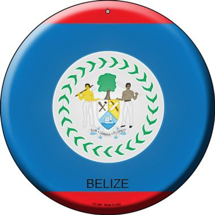 Belize Country Novelty Small Metal Circular Sign UC-206