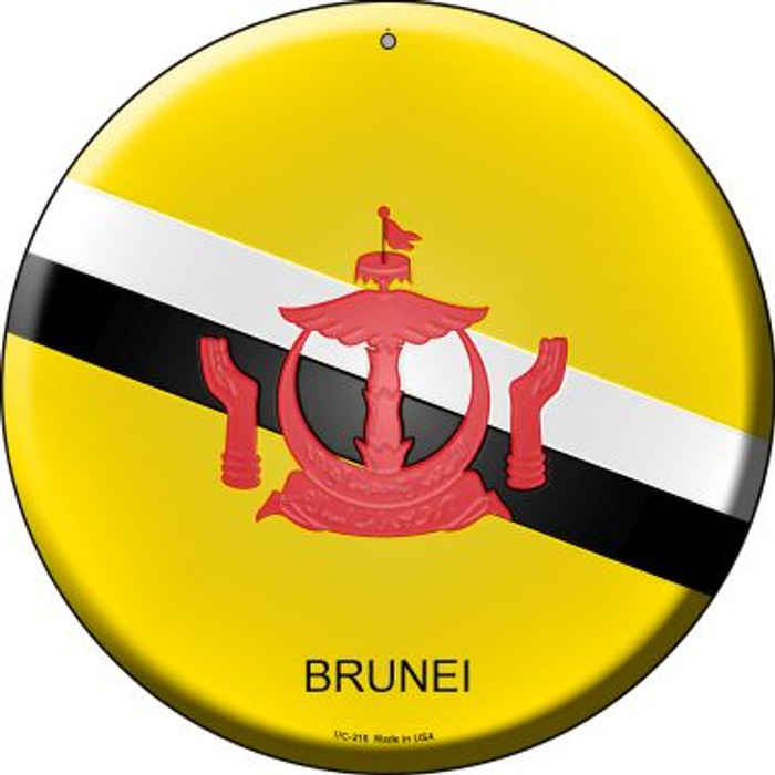 Brunei Country Novelty Small Metal Circular Sign UC-216
