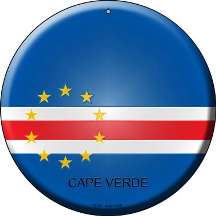 Cape Verde Country Novelty Small Metal Circular Sign UC-225