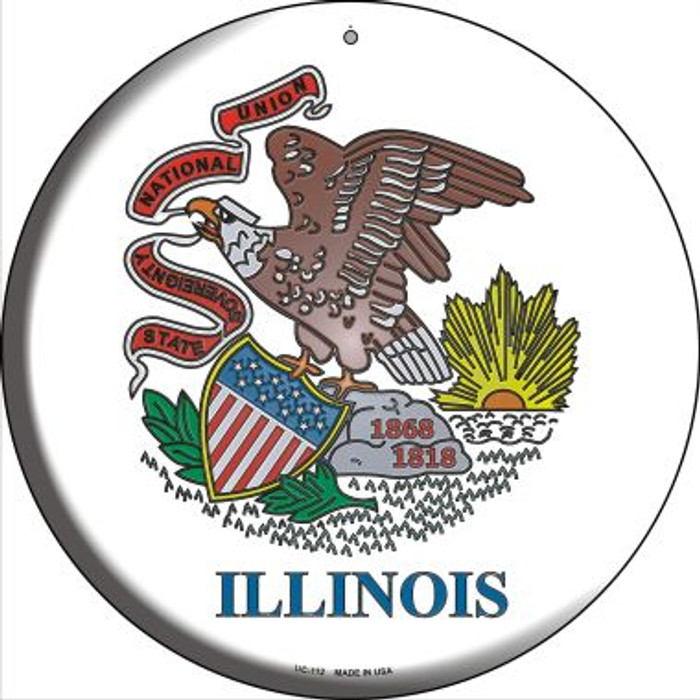 Illinois State Flag Novelty Small Metal Circular Sign UC-112