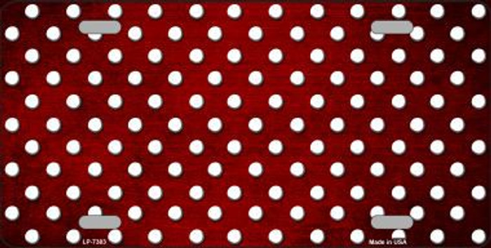Red White Small Dots Print Oil Rubbed Metal Novelty License Plate