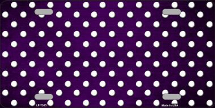 Purple White Small Dots Print Oil Rubbed Metal Novelty License Plate