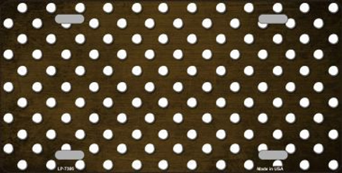 Brown White Small Dots Print Oil Rubbed Metal Novelty License Plate