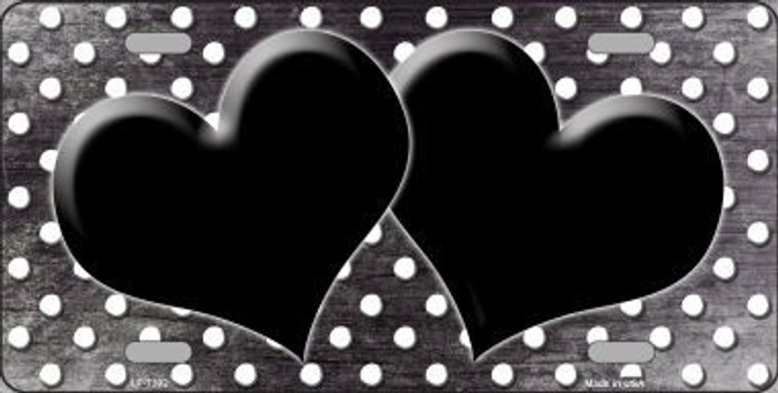 Black White Small Dots Hearts Print Oil Rubbed Metal Novelty License Plate