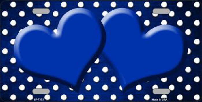 Blue White Small Dots Hearts Print Oil Rubbed Metal Novelty License Plate