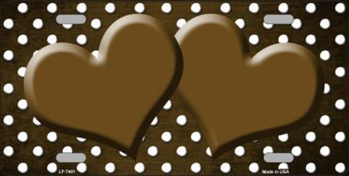 Brown White Small Dots Hearts Print Oil Rubbed Metal Novelty License Plate