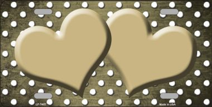 Gold White Small Dots Hearts Print Oil Rubbed Metal Novelty License Plate