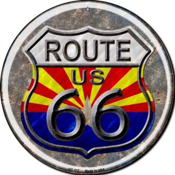Arizona Route 66 Novelty Small Metal Circular Sign UC-517
