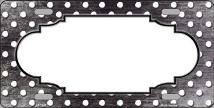 Black White Small Dots Scallop Print Oil Rubbed Metal Novelty License Plate