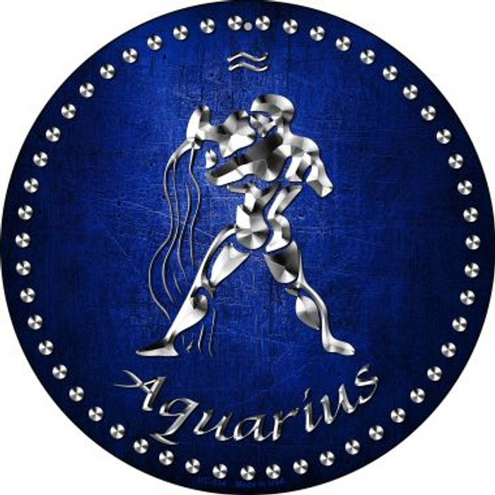 Aquarius Novelty Small Metal Circular Sign UC-534