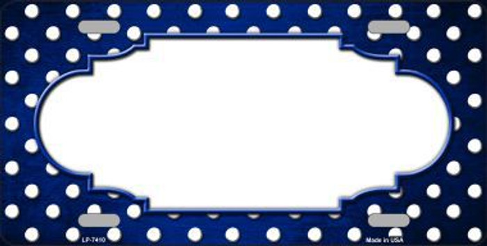 Blue White Small Dots Scallop Print Oil Rubbed Metal Novelty License Plate